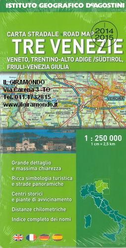Cartina Stradale Veneto Trentino.Tre Venezie Carta Stradale Mappa Geografica Pianta
