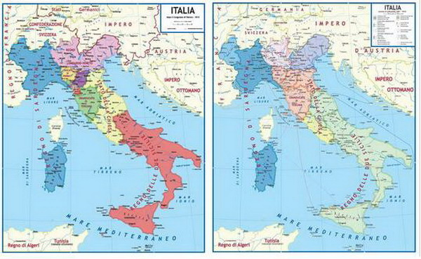 Cartina Dell Italia Nel 1815.Carta Storica Italia Lato A Dopo Il Congresso Di Vienna 1815 Lato B Durante Il Processo Di Unificazione 1859 1870 Mappamondo Da Tavolo Da Arredamento