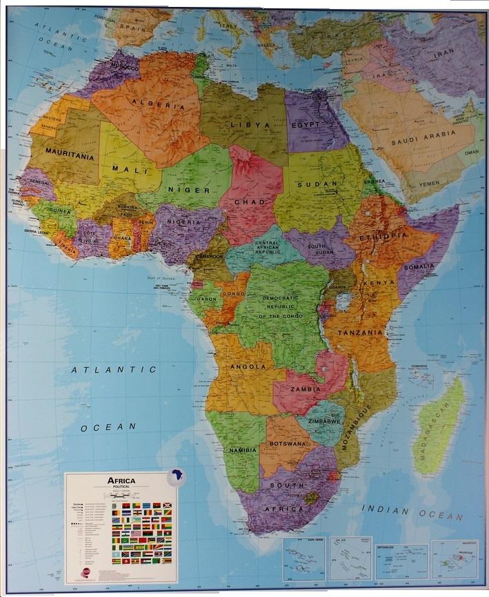 Cartina Giografica Africa.088 Africa Politica 120x100 Cm Carta Murale Planisfero Il Giramondo