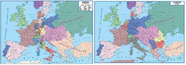 Cartina Geografica Prima Guerra Mondiale.140 Carta Storica Europa Lato A Dopo Il Congresso Di Vienna 1815 Lato B Prima Della I Guerra Mondiale 1914 Carta Murale Planisfero Il Giramondo