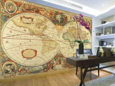039 planisfero antico gigante 415x250 carta murale for Carta da parati mappamondo