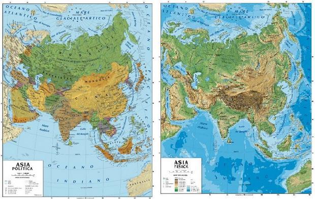 Cartina Asia Fisica.089 Asia Da Aula Scolastica Fisico Politica 100 X 140 Cm Carta Murale Planisfero Il Giramondo