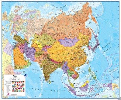 Cartina Politica Asia.090 Asia Politica 120x100 Cm Carta Murale Planisfero Il Giramondo