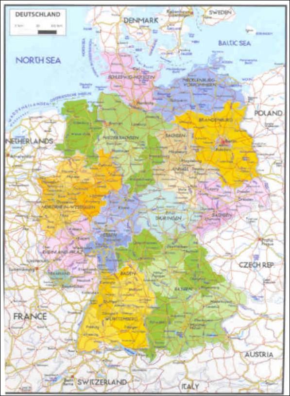Cartina Fisica Politica Germania