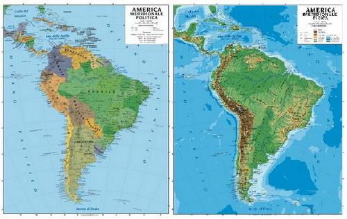 051 America Sud Da Aula Scolastica Fisico Politica 100 X 140 Cm