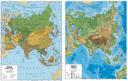 Cartina Asia Politica E Fisica.089 Asia Da Aula Scolastica Fisico Politica 100 X 140 Cm