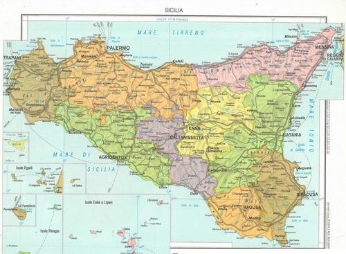 Cartina Completa Sicilia.117 O Sicilia Scolastica Fisico Politico 100x140 Carte Murali Per La Scuola E Materiale Didattico